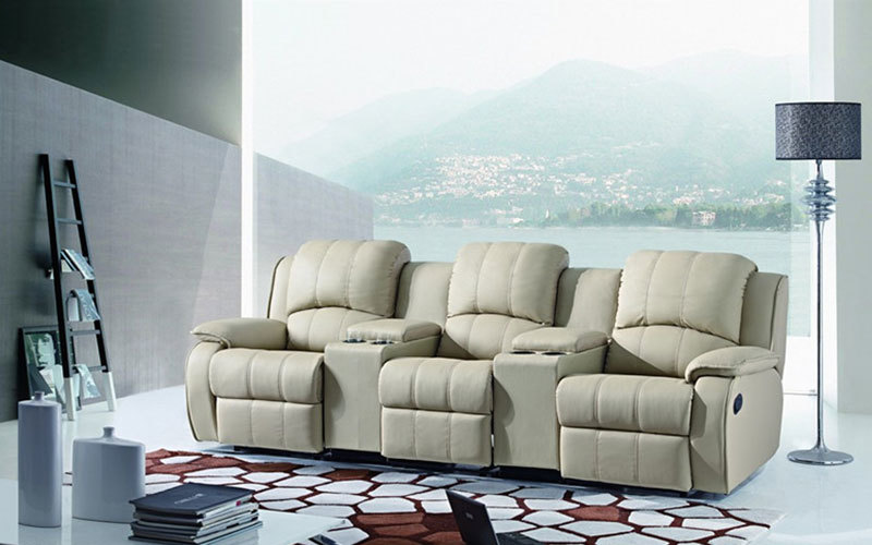 Beige 3 Seat Home Theater Seating Recliner With Cup Holders Console