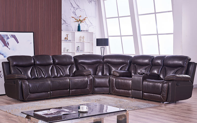 Leather Living Room Furniture Corner Sofa Sets With Consoles Wholesale