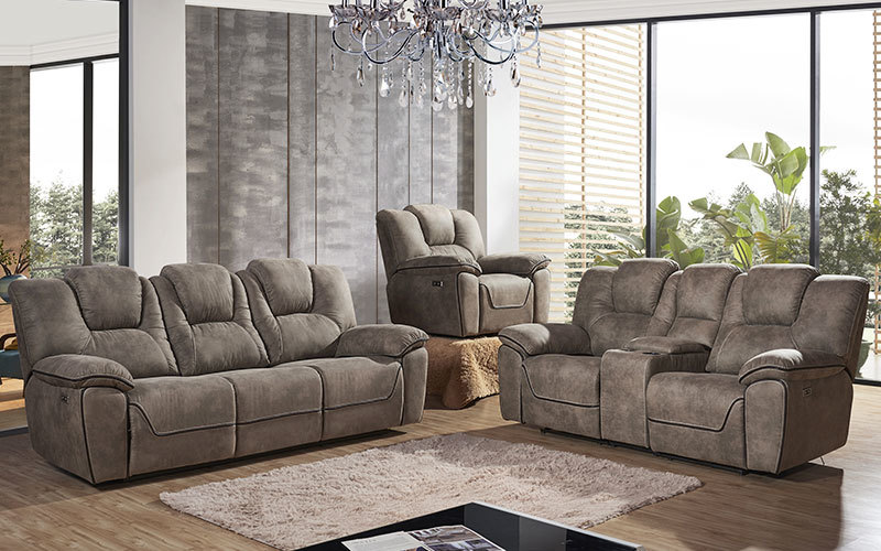 Newest Fabric Living Room Manual Recliner Sofa Sets Wholesale