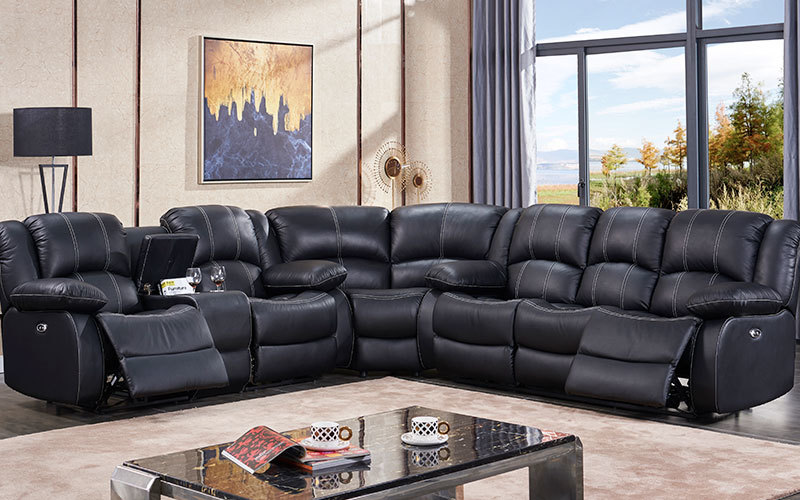 Contemporary Synthetic Leather L Shape Living Room Sofa With Console