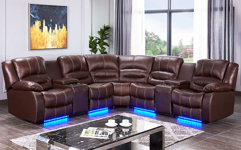 Contemporary L Shape Living Room Sofa With Console And LED