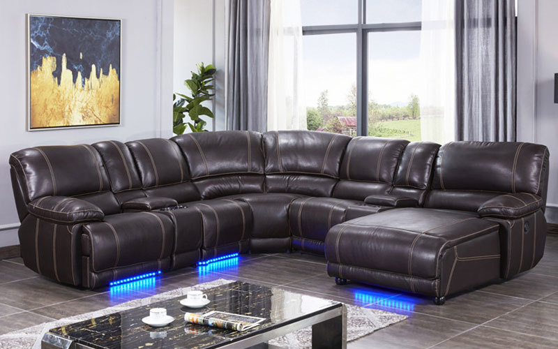 Contemporary Air Leather Living Room Corner Recliner Sofa With Console
