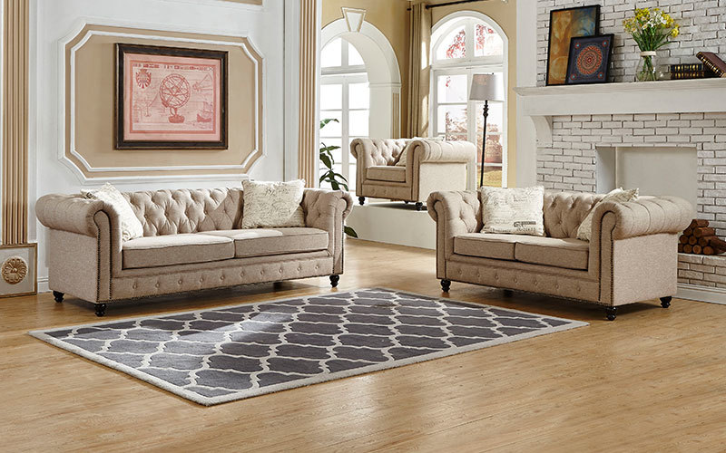 Cheap Chesterfield Fabric Living Room Sofa Sets Wholesale Supply