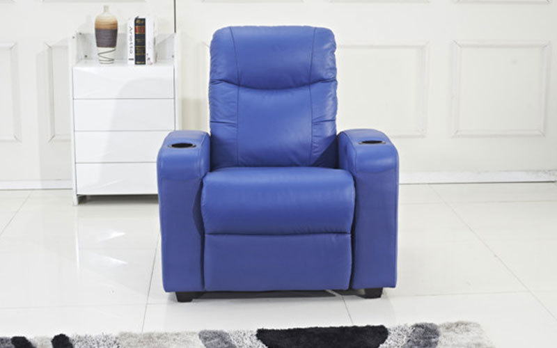 Blue Top-Grain Leather Home Theater Recliner Sofa Wholesale