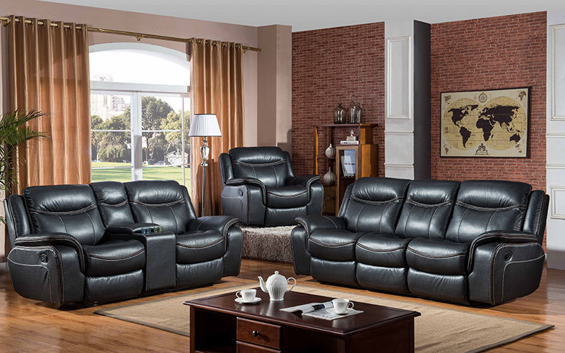 Big Black Sectional Leather Living Room Recliner Sofa Sets Wholesale