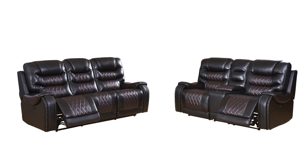 Living room Recliner Brown Leather 2 3 Seater Sofas Suite