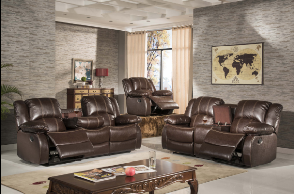 Living room furniture corner recliner sofa with console